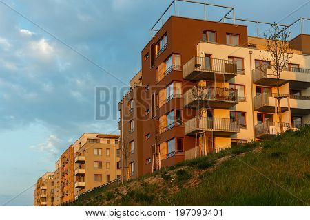 new european modern complex beautiful apartment house flat building mortage on sunset