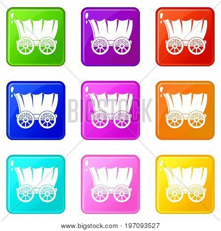 Ancient western covered wagon icons of 9 color set isolated vector illustration