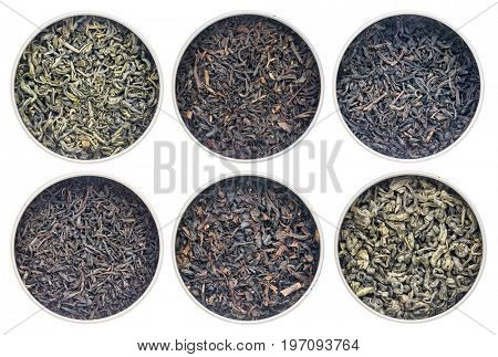 six historical loose leaf black (bohea, oolong, souchong, congou) and green (hyson, singlo) tea collection, the same type thrown over during the Boston Tea Party in 1773.