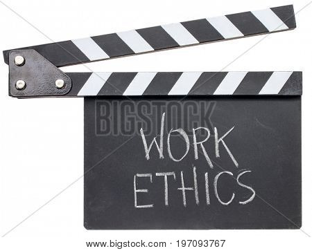 work ethics in white chalk on clapboard isolated on white