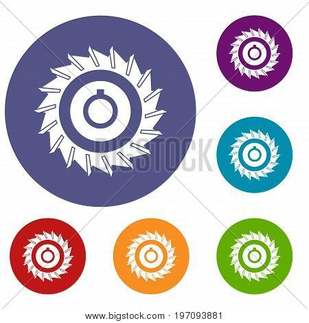 Circular saw disk icons set in flat circle red, blue and green color for web