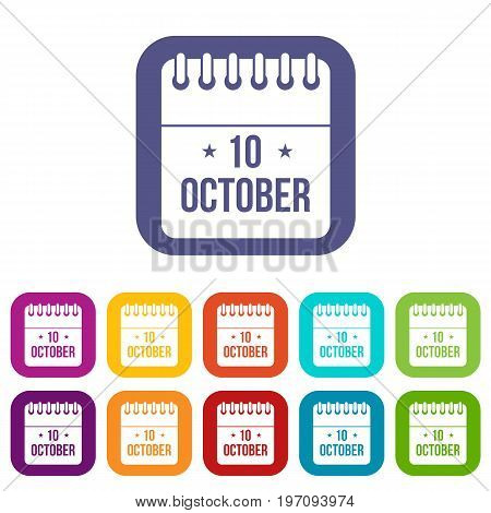 10 october calendar icons set vector illustration in flat style in colors red, blue, green, and other