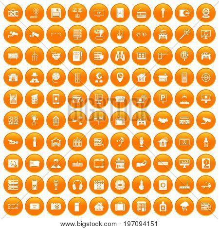 100 camera icons set in orange circle isolated on white vector illustration