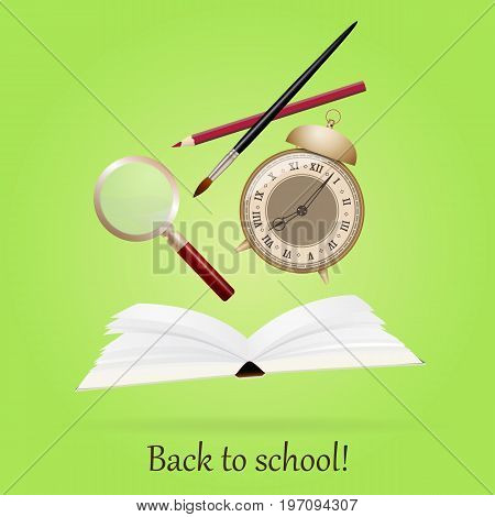 Image with book, alarm, pen, art brush, magnifier Back to school