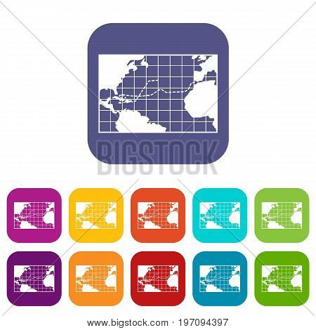 Map trips of Columbus icons set vector illustration in flat style in colors red, blue, green, and other