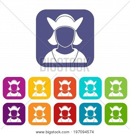 Male avatar icons set vector illustration in flat style in colors red, blue, green, and other
