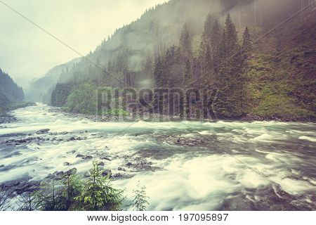 Latefossen Waterfall And River In Norway
