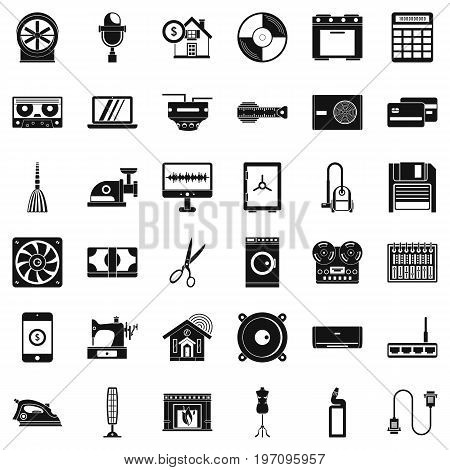 Homework appliance icons set. Simple style of 36 homework appliance vector icons for web isolated on white background