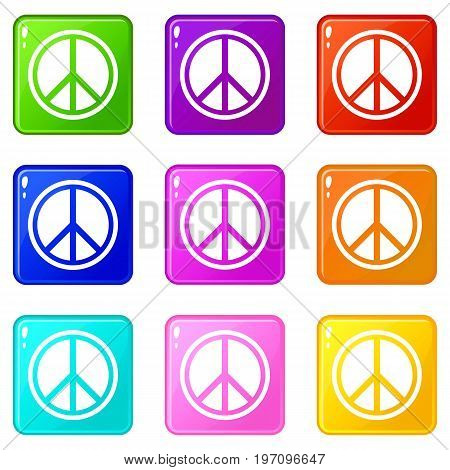 Sign hippie peace icons of 9 color set isolated vector illustration