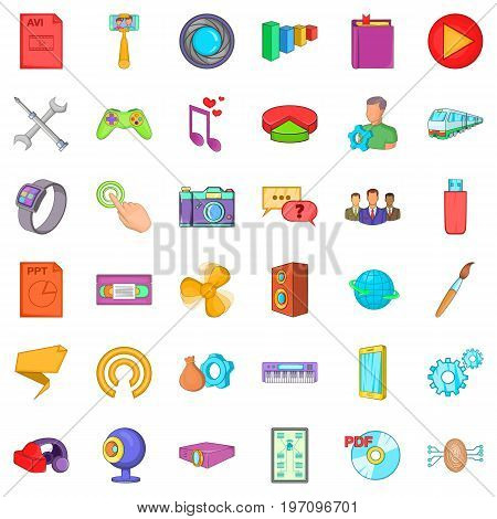 Application for gadget icons set. Cartoon style of 36 application for gadget vector icons for web isolated on white background