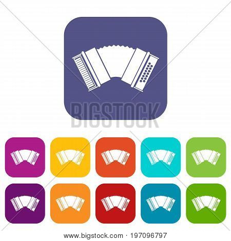 Accordion icons set vector illustration in flat style in colors red, blue, green, and other