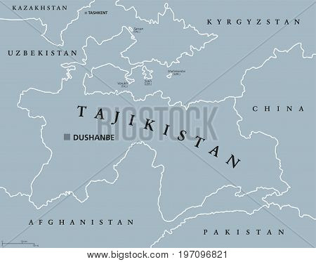 Tajikistan political map with capital Dushanbe and borders. Republic and landlocked country in Central Asia. Gray illustration. English labeling. Vector.