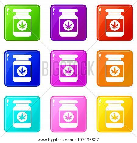 Jar of powder marijuana icons of 9 color set isolated vector illustration