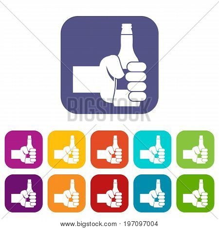 Hand holding bottle of beer icons set vector illustration in flat style in colors red, blue, green, and other