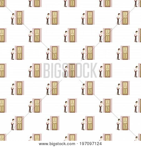 Businessman with a folder goes to the door pattern seamless repeat in cartoon style vector illustration