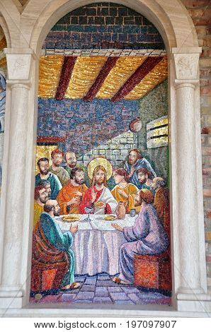 Giulianova Italy,October 21st 2010.A mosaic of Christ and his apostles at the Last Supper hangs on a wall in Giulianova Italy.