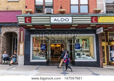 Quebec City, Canada - May 29, 2017: Aldo Store In Old Town Street With People Walking By On Sidewalk