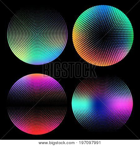 Geometric halftone circle set with holographic gradients. Minimal design backgrounds. Holographic shapes. Vector illustration.