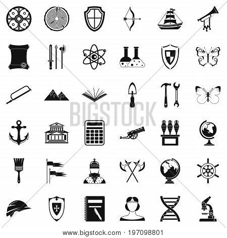 Science archeology icons set. Simple style of 36 science archeology vector icons for web isolated on white background