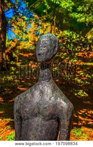 Campos do Jordão, Brazil - January 17, 2015. Sculpture in the open-air Museum Felicia Leirner, near Campos do Jordão, famous for its mountain and hiking tourism. São Paulo State, southwestern Brazil