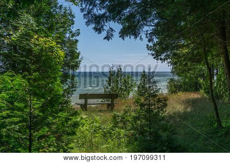 Bench Looking Out on Lake Michigan in Door County