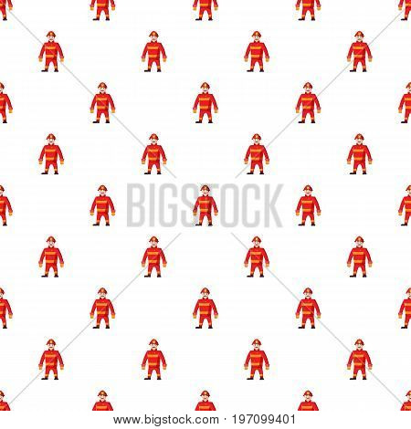 Firemen pattern seamless repeat in cartoon style vector illustration