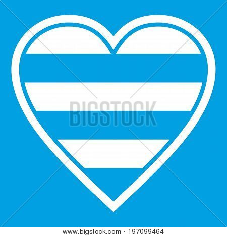 Heart LGBT icon white isolated on blue background vector illustration