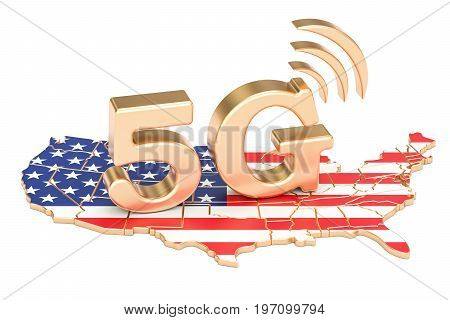 5G in USA concept 3D rendering isolated on white background