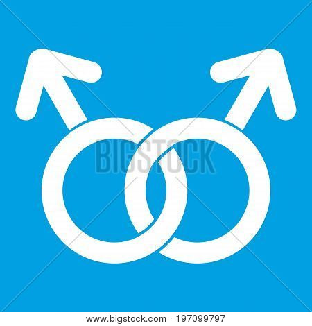 Gay love sign icon white isolated on blue background vector illustration