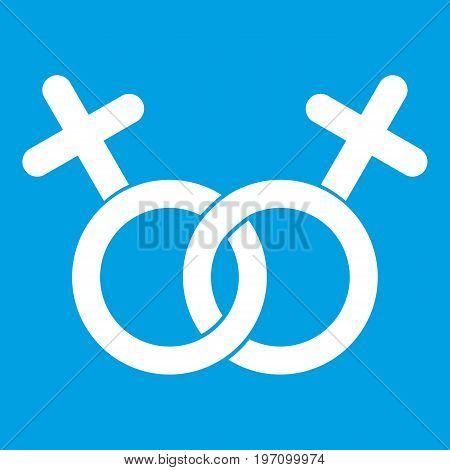Lesbian love sign icon white isolated on blue background vector illustration