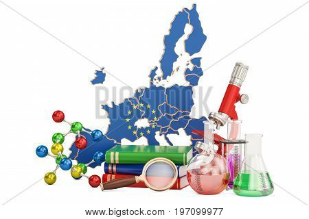 Scientific research in European Union concept 3D rendering isolated on white background