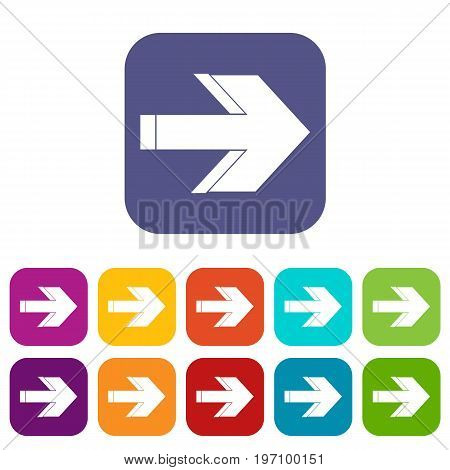 Arrow icons set vector illustration in flat style in colors red, blue, green, and other