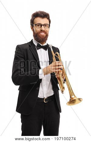 Trumpet player looking at the camera and smiling isolated on white background