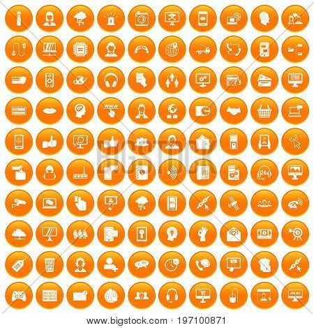 100 contact us icons set in orange circle isolated on white vector illustration