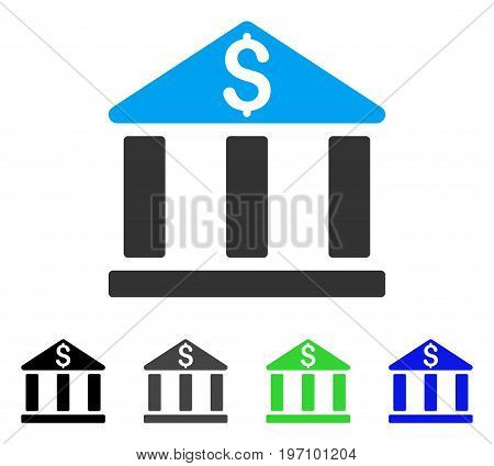 Bank Office Building flat vector illustration. Colored bank office building gray, black, blue, green icon variants. Flat icon style for application design.