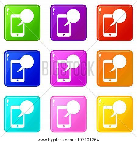 Speech bubble on phone icons of 9 color set isolated vector illustration
