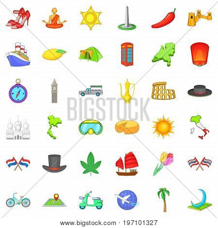 Trip icons set. Cartoon style of 36 trip vector icons for web isolated on white background
