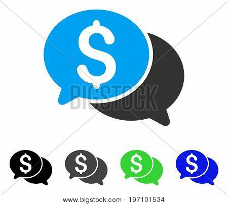 Financial Messages flat vector pictograph. Colored financial messages gray, black, blue, green pictogram versions. Flat icon style for web design.