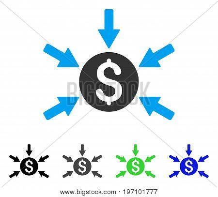 Money Income flat vector pictograph. Colored money income gray, black, blue, green pictogram versions. Flat icon style for application design.