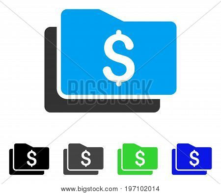 Wallet flat vector icon. Colored wallet gray, black, blue, green pictogram versions. Flat icon style for graphic design.
