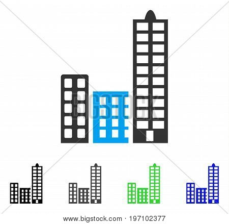City flat vector pictograph. Colored city gray, black, blue, green pictogram variants. Flat icon style for web design.