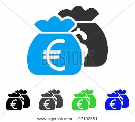 Euro Money Bags flat vector pictograph. Colored euro money bags gray, black, blue, green pictogram versions. Flat icon style for web design.
