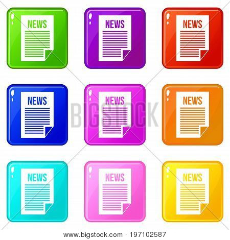 News newspaper icons of 9 color set isolated vector illustration