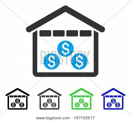 Money Depository flat vector pictogram. Colored money depository gray, black, blue, green icon versions. Flat icon style for graphic design.