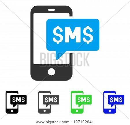 Phone SMS flat vector pictogram. Colored phone sms gray, black, blue, green icon versions. Flat icon style for application design.