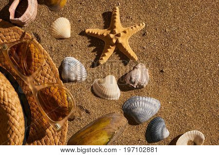 Summer women accessories straw hat sunglasses on the beach with sand and seashells. Concept of summer traveling