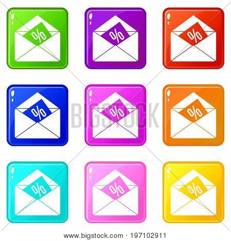 Envelope with percentage icons of 9 color set isolated vector illustration