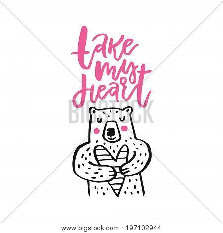 Cute handdrawn bear with sign