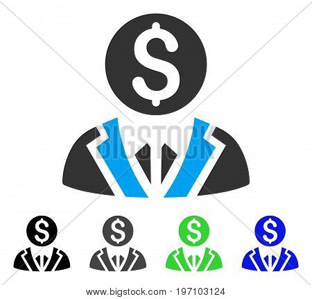 Banker flat vector icon. Colored banker gray, black, blue, green icon variants. Flat icon style for web design.