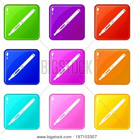 Mod and clearomizer in the kit icons of 9 color set isolated vector illustration
